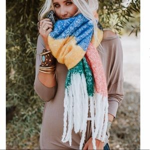 Rainbow Oversized Color Block Scarf